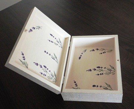 Drewniane pudełko lawendowe